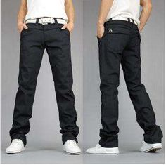 Details about Korean Fashion Mens Casual Slim Fit Straight Pants ...