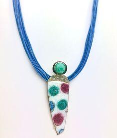 Sterling Silver EnamelArt Pendant with Amazonite Enamel Jewelry, Jewellery, Turquoise Necklace, Beaded Necklace, Vitreous Enamel, Sgraffito, Enamels, Fashion Sewing, Modern Jewelry