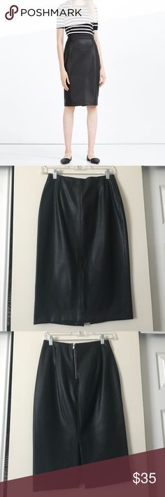 Zara Faux leather pencil skirt Black faux leather pencil skirt. Very thick quality. Excellent used condition. Size medium. Zara Skirts Pencil