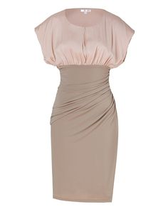 Paule Ka Beige/Rose dress. Flattering high-waisted skirt. Two tone. Round neckline with slit and hidden button closure, dolman cap sleeves, gathered high waist, skirt with ruched side seam, side slit, hidden side zip. Loosely bloused top, form-fitting skirt