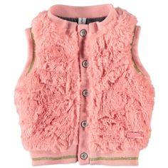 Meisjes waistcoat van het merk Babyface. Roze cardigan zonder mouwen, met een knoop sluiting. Afgewerkt met gouden stiksels, voelt heel zacht aan.