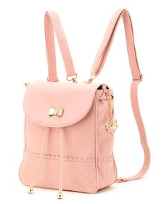 Obsessed! how cute is this pastel pink and gold backpack? the square shape and style is so vintage/retro!