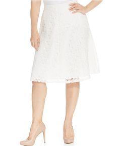 Calvin Klein Plus Size Lace A-Line Skirt