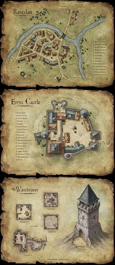 Set of fantasy maps by MaximePLASSE for an RPG kickstarter map cartography | Create your own roleplaying game material w/ RPG Bard: www.rpgbard.com | Writing inspiration for Dungeons and Dragons DND D&D Pathfinder PFRPG Warhammer 40k Star Wars Shadowrun Call of Cthulhu Lord of the Rings LoTR + d20 fantasy science fiction scifi horror design | Not Trusty Sword art: click artwork for source: