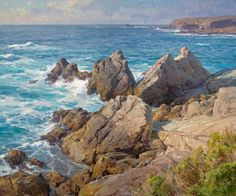 Clyde Aspevig is a contemporary landscape painter with truly inspiring images. Contemporary Landscape, Landscape Art, Landscape Paintings, Ocean Art, Ocean Waves, Clyde Aspevig, Seascape Paintings, Oil Paintings, Beautiful Paintings