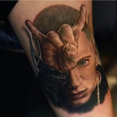 Eminem portrait by Rich Pineda. #inked #Inkedmag #tattoo #eminem #art #idea #rapper #RichPineda