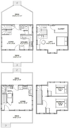 Tiny Houses PDF Floor Plans 584 sq by ExcellentFloorPlans Tiny House Big Living, Small Tiny House, Micro House, Tiny Houses, Small Homes, Garage House Plans, Bedroom House Plans, Small House Plans, The Plan