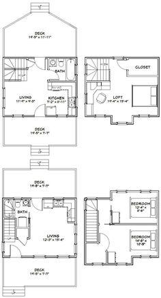 20x16 Tiny Houses PDF Floor Plans 584 sq от ExcellentFloorPlans