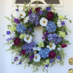 XL Spring Wreath-Spring Door Wreath-Hydrangea Wreaths-Summer Wreath-French Country Wreath-Mother's Day Gift-Wedding Wreath-Wreath for Door