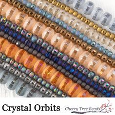 Crystal Orbits Matte and Striped Rondelle Beads