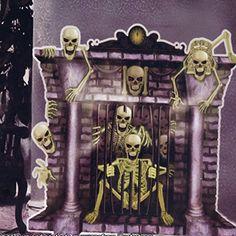 Best Wanddeko Kamin Skelett Geister Halloween Scene Setter