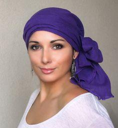 Purple Turban Hat, Head Wrap Chemo Hat, Alopecia Scarf, Cotton Gauze, Hat & Scarf Set
