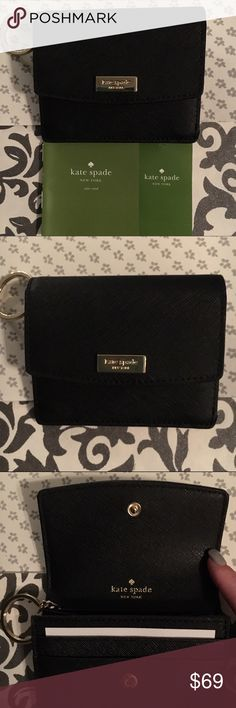 ♠️️❤️️AMAZING DEAL❤️♠️️ Kate Spade NWT Wallet NWT Kate Spade Laurel Way Wallet in Black Leather. Goldtone logo and magnetic snap closure. Exterior zip and ID pocket. Interior compartment has slip pockets for your credit cards. This small wallet also has a keychain! kate spade Bags Wallets