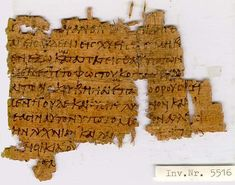 Papyrus manuscript of the Gospel of Matthew. The surviving texts of Matthew are verses 5:13-16, 22-25. Found in Egypt and dates from around 350 AD. It is currently housed at the University of Cologne (P. Col. theol. 5516) in Cologne, Germany.