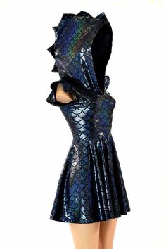This sparkling, scaly dress is made of stretchy lycra spandex. It is a gorgeous black dragon scale print, with a holographic shimmery shine.It features a roomy Rave Outfits, Girl Outfits, Fashion Outfits, Womens Fashion, Pretty Outfits, Pretty Dresses, Elegant Dresses, Sexy Dresses, Formal Dresses