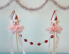 Clown Cake Topper / Spun Cotton Clown / Retro by pinkprairies