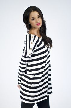Black and White Stripe Button Top. Great for Fall