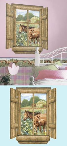 Horses Log Window Peel and Stick Wall Mural - Wall Sticker Outlet