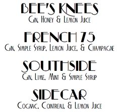 Prohibition Cocktails for your Great Gatsby paty Roaring 20s Party, 1920s Party, Great Gatsby Party, Gatsby Theme, Nye Party, The Roaring Twenties, Flapper Party, 1920s Speakeasy, Speakeasy Party