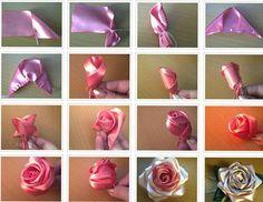 Rosas com fita de cetim!
