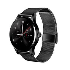 K88H Round Bluetooth Smart Watches Clock Classic Health Metal Smartwatch with Heart Rate Monitor for Android ISO Phone Black Stainless Steel Strap. MTK2502C + Bluetooth 4.0: Advanced MTK2502C chip and Bluetooth 4.0 technology, make perfect compatibility with iOS and Android system. HD IPS screen, 2.5D arc TP: 240 x 240 px HD IPS full view display, 2.5D arc touch screen, give you the ultimate visual enjoyment and touch experience. Professional static and dynamic heart rate detection…