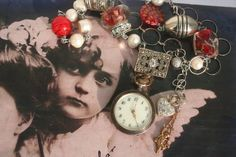 Antique Silver Pocket watch Assemblage necklace, upcycled french silver, reinvented watch movement jewelry, Cherubs Angels and putti wings, Pocket Watch Necklace, Silver Pocket Watch, Pocket Watch Antique, Christmas Necklace, Christmas Jewelry, Beautiful Lettering, Red Accessories, Unusual Jewelry, White Freshwater Pearl