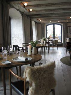 The rustic, cool interior of Noma in Copenhagen.