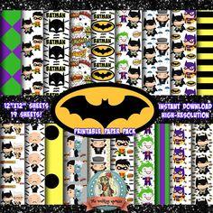 BATMAN Batman Birthday The Joker  Scrapbook Paper Digital