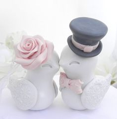 Love Birds Wedding Cake Topper, Ivory, Blush Pink and Charcoal Grey, Bride and Groom Keepsake, Fully Customizable