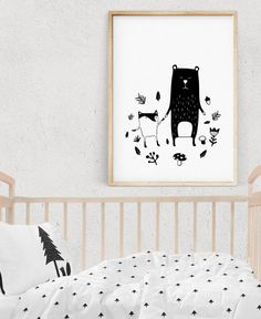 Scandinavian Art Print, WOODLAND Illustration, Monochrome Posters, Nursery Decor, Printable kids gift, Wall Art, Digital Download