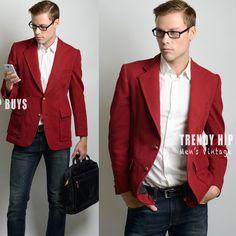 Vinatge Men's Blazer Vintage maroon blazer by TrendyHipBuysVintage