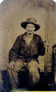 ca. 1860-90, [tintype portrait of a market hunter from Grand Isle, Louisiana holding a large double-barreled shotgun] via Jeffrey Kraus Antique Photographica, Tintype Collection