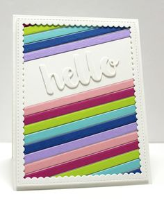 Confessions of a Ribbon Addict: colorful hello | MFT Diagonal Sentiment Strip Cover-up, Hello There Die-namics, Stitched Rectangle Scallop Frames