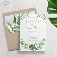 Printable Wedding Invitation Suite Leafy / by TheHomeGirlsEtsy