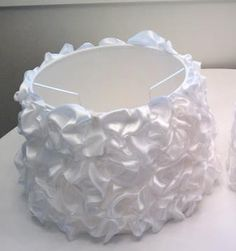 diy a ruffly lampshade #lamp #ribbon This would be cute if we painted Evelyn's lamp lavender and then did this to the shade.