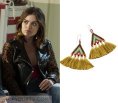 "Pretty Little Liars: Season 7 Episode 13 Aria's Yellow Tassel Earrings | Shop Your TV Aria Montgomery (Lucy Hale) wears these yellow beaded tassel earrings in this episode of Pretty Little Liars, ""Hold Your Piece"".  They are the Bluma Project Talitha Earrings in Gold."