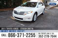 2011 Toyota Venza - Sport Utility Vehicle - 2.7L Engine - Remote Keyless Entry - Alloy Wheels - Spoiler - Tinted Windows - Fog Lights - Safety Airbags - Seats 5 - Power Windows, Locks, Mirrors & Driver's Seat - AM/FM/CD - XM Satellite Ready - iPod/Aux/USB - Digital Compass - Outside Temperature Display - HomeLink - Cruise Control - Ambient Lighting and more!