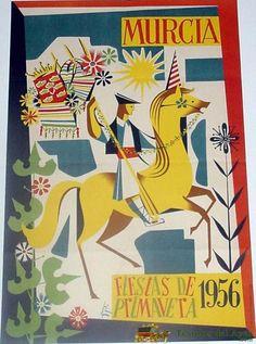 ANTIGUO CARTEL DEMURCIA FIESTAS DE PRIMAVERA 1956, ILUSTRADO POR JOSE FRANCISCO AGUIRRE – MIDE 50 X 33 CMS.