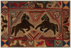 A Striking Hooked Rug with Two Horses, 12 birds, 11 hearts, PA, ca. 1890
