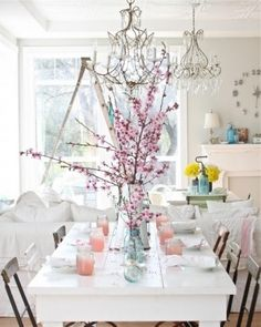 dining  white table  spring setting  pink table decor