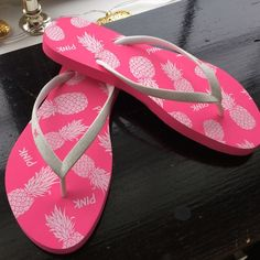 NWOT Pink VS flip flops  Brand new never worn Pink flip flops! Perfect for this summer  PINK Victoria's Secret Shoes Sandals
