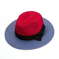 Straw Hats Women Vintage Cap Panama Patchwork Hit Color Bow Decorating Sun Block Fisherman Hat Hip Hop Accessories Summer