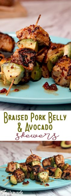 Sweet and spicy glaze is the perfect complement to crispy pork belly and rich avocado. Veal Recipes, Skewer Recipes, Avocado Recipes, Healthy Recipes, Pork Belly Bacon Recipe, Pork Belly Recipes, Meat Appetizers, Appetizer Recipes, Braised Pork Belly