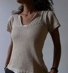 Hand Knit Lace Panel Top in Aqua for Women