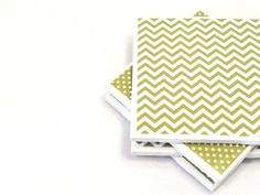 Chevron and Polka Dot Coasters  Olive Green by littlecoastergnome, $14.00
