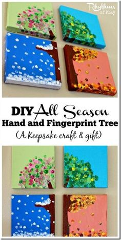 4 Season Canvas Art Project for Kids - This is such a fun craft for kids of all ages (Preschool, Kindergarten, 1st grade, 2nd grade, 3rd grade)! SO CUTE!