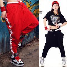 a2a51d64e42eb D10 negro rojo danza Hip hop Harem Jazz sueltas deportes pantalón de mujer  moda… Negro