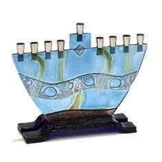 Fused Glass Menorah by Tamara Baskin