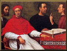 Cesare Borgia (far left) and Macchiavelli, Cardinal Borgia (a young relative of Rodrigo) and Michelotto Corella. (1500)