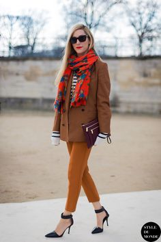 Street Style: Joanna Hillman | Floral Print scarf + striped sweater + brown double breasted blazer + mustard orange cropped trousers + black ankle strap pointed d'orsay pumps + burgundy clutch